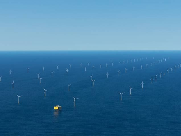 Bird's eye view of DanTysk offshore wind farm