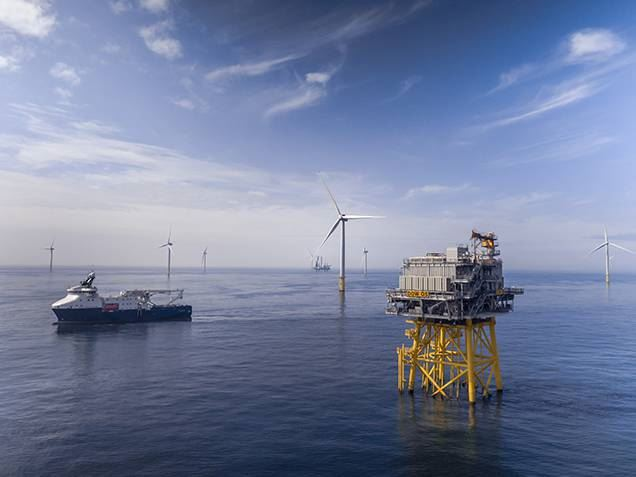 Installation work at the Dudgeon offshore wind farm