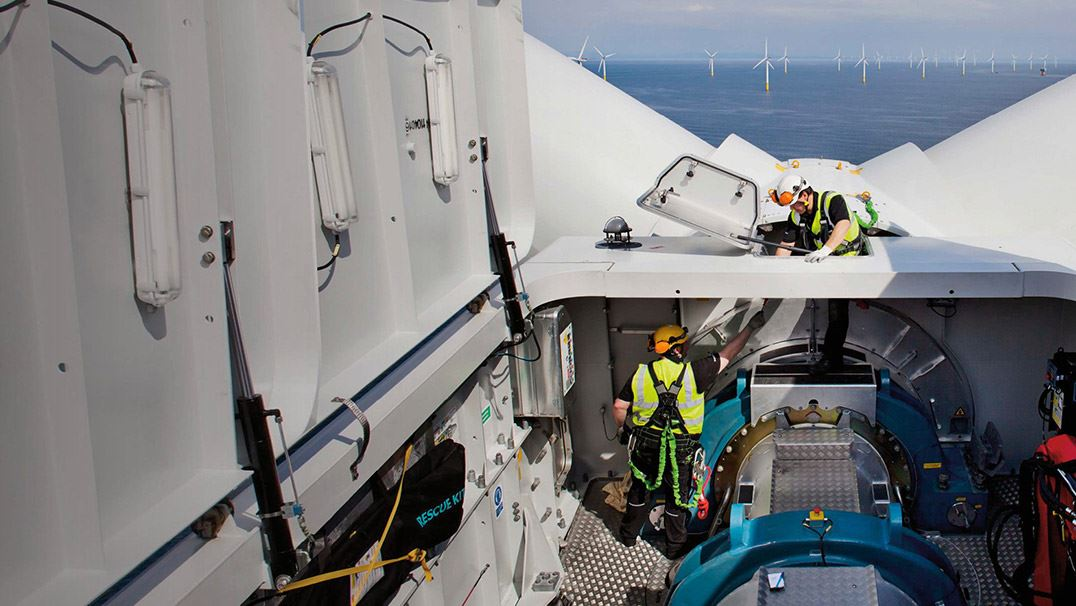 Servicing a 3.6 MW offshore wind turbine