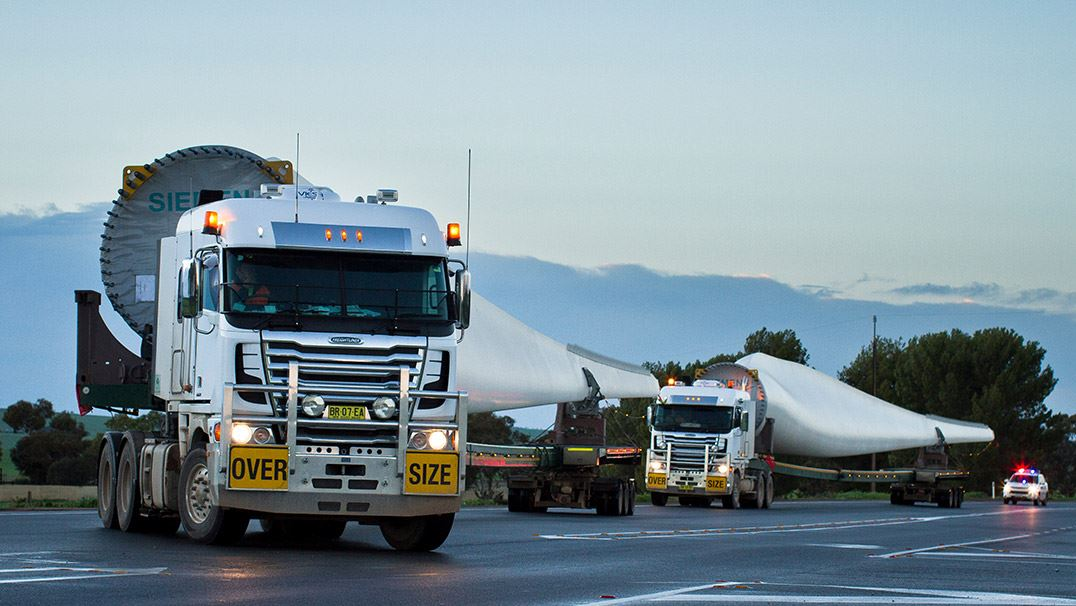 Transportation of a wind turbine blade for Snowtown II