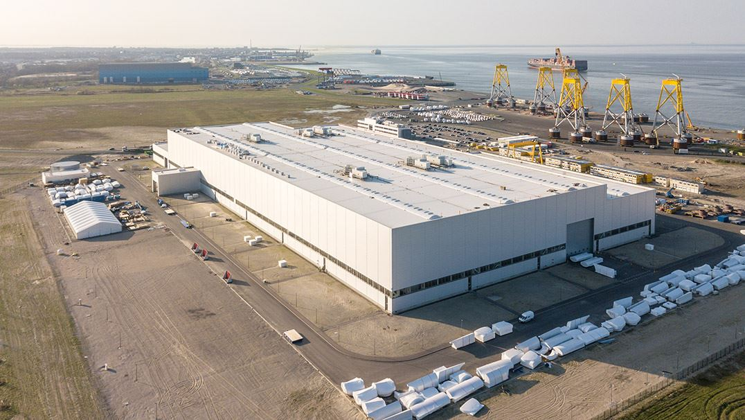 Cuxhaven wind turbine production from a bird's eye view