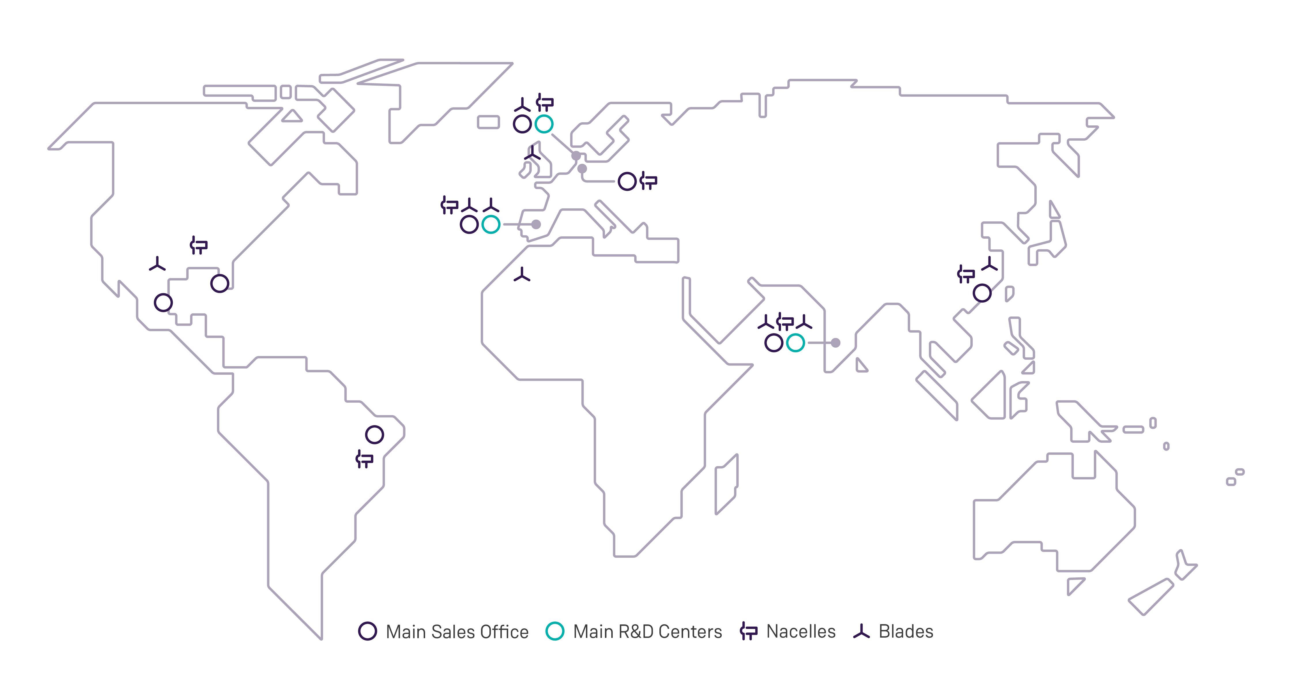 Worldwide overview of Siemens Gamesa office and manufacturing locations