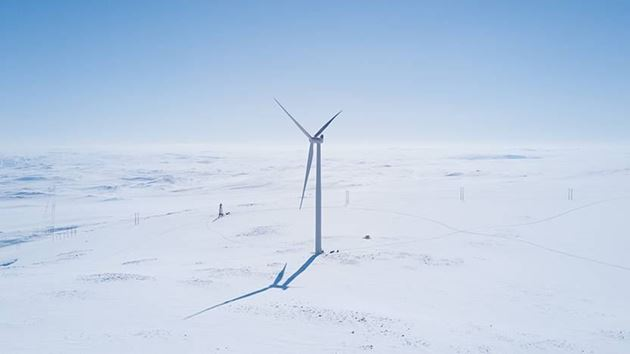 Onshore wind turbine in winter